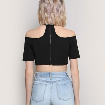 ALL CHOKED UP CROP TOP - BLACK