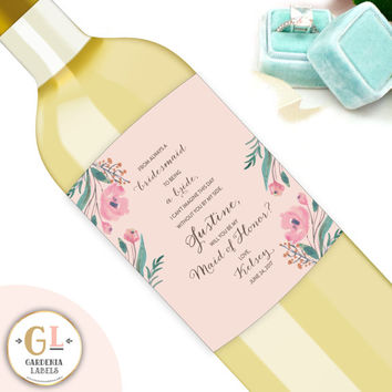 Custom Bridesmaid Wine Labels, Personalized Will You Be My Bridesmaid Gift, Always a Bridesmaid, Maid of Honor Ask, Custom Wine Label