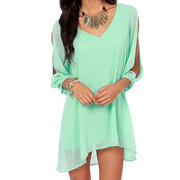 Summer Casual Chiffon Dress - Mint Green