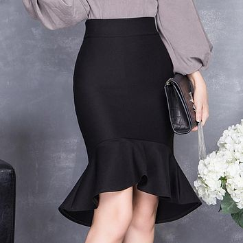 2016 spring and summer high waist slim hip skirt female bust skirt ruffle slim midguts fish tail skirt step skirt