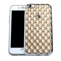 iPhone 6 6S Plus Crystal TPU Case,Mothca 3D Sparkling Glitter Luxury Clear Diamond Grid Transparent Soft TPU Plating Electroplating Bumper Cover Mobile Phone Back Case(5.5 Clear Silver)