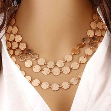 MDIGCI7 Fashion Charm Jewelry 3 Chain Metal Grind Discs Pendant Choker Chunky Statement Bib Necklace For Women