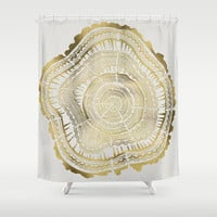 Gold Tree Rings Shower Curtain by Cat Coquillette