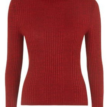 Ribbed Roll Neck Sweater - Rust