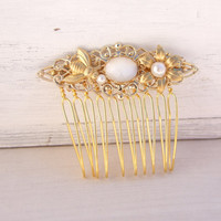 Leaf Hair Comb,Gold Hair Comb, Wedding Hair Accessories, Bridal Hair Piece, Stone Hair Comb, Vintage Style,Hair Accessories