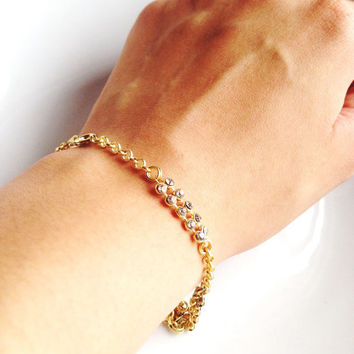 Diamond Bracelet - Cubic Zirconia in Gold - Casual or Dressy - Gold, Shiny, Layering, Dainty, Sparkle - Gift, Birthday, Valentine, Wedding