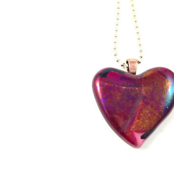 Fused Dichroic Glass Necklace Copper Red Heart Valentine  214