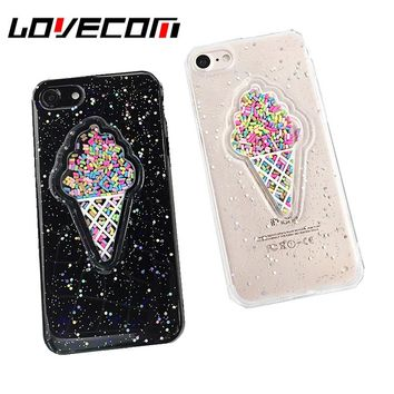 Lovely 3D Summer Ice Cream Phone Case For iPhone 6 6S 7 7 Plus Shining Glitter Powder Sof TPU Back Cover Shockproof Coque