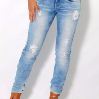 (ame) Light stone wash distressed skinny jeans