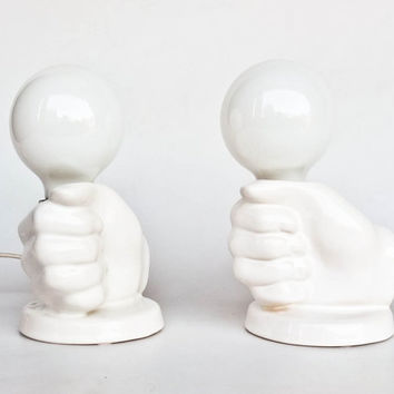 Mid Century Modern Table Lamp Pair / White Ceramic Fist Bedside Lamps / Aro / 70's Germany