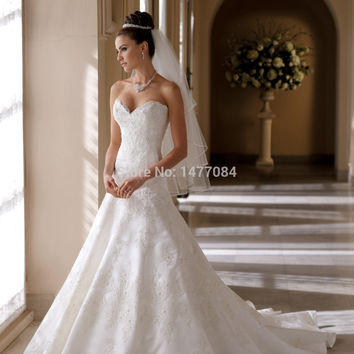 Beautiful Sweetheart Lace Wedding Dresses 2015 Ivory A Line Bridal Gowns Backless Custom Made