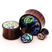 Pair of Sono Wood with Abalone Inlay Plugs - 0g - 8mm - Sold As a Pair