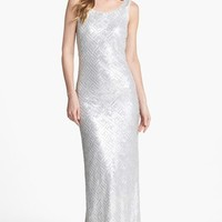 Laundry by Shelli Segal Faux Leather Sequin Tank Gown | Nordstrom