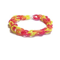 Fire Colored Friendship Bracelet, Rainbow Loom Bands - Red, Yellow, and Orange Rubber Band Bracelet, Thin