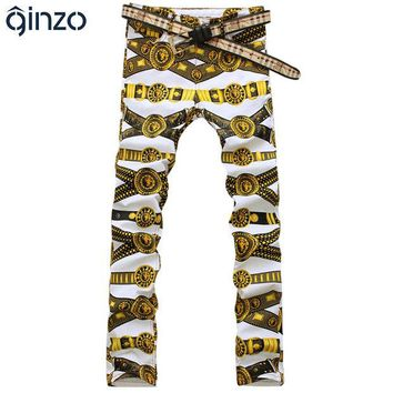 DCCKJG2 Men's slim colored drawing flower print jeans Male gold lion painted denim pants trousers Free shipping