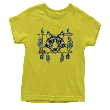 Native American Wolf And Feathers Southwest Youth T-shirt