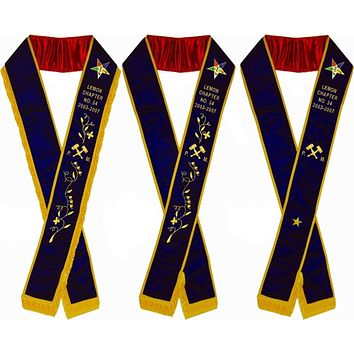 Hand Embroidered Past Matron OES Purple Velvet Sashes