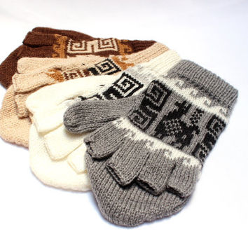 SALE 15% OFF* Alpaca wool Gloves, Convertible Mittens, Fingerless Gloves, Light and Warm in Natural Colors with Ethnic Andean Designs