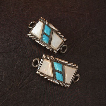 GILBERT ORTEGA Vintage Navajo Sterling Silver WATCHBAND Watch Band Tips Turquoise Mother of Pearl Hallmarks c.1970s