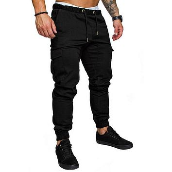 Laamei Mens Casual Pants Fitness Men Sportswear Tracksuit Bottoms Skinny Sweatpants Trousers Black Gyms Jogger Track Pants