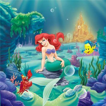 Princess Ariel Little Mermaid Birthday Party Photo Backdrop Castle Under the Sea Corals Baby Girl Cartoon Photography Background