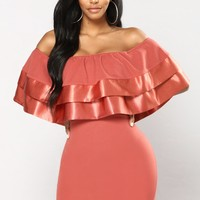 Playing Ruffle Dress - Marsala