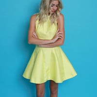 Lemon Drop Fit And Flare Dress - Yellow