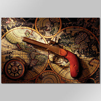 Big size Retro Europe style Cool Gun decoration wall art pictures world map compass Canvas Painting print living room unframed