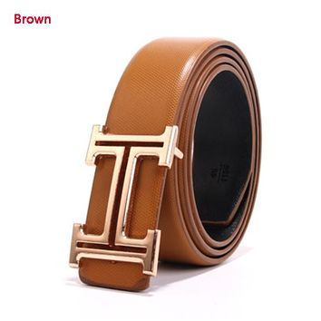 Hermes Fashion New H Buckle Women Men Leisure Personality Belt Brown