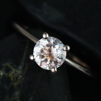 Skinny Alberta 14kt Rose Gold Round Morganite Tulip Solitaire Engagement Ring (Other metals and stone options available)