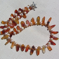 "Carnelian & Apricot Freshwater Pearl Necklace ""Orange Zinnia"""