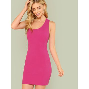 Asymmetrical Shoulder Strappy Back Fitted Dress
