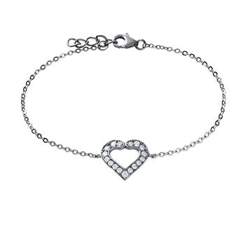 Dainty Heart Anklet - CZ and Sterling Silver