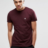 ASOS T-Shirt With Crew Neck And Logo In Oxblood