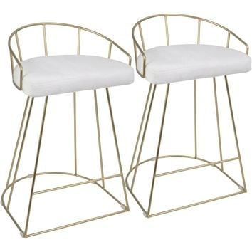 Canary Contemporary Counter Stools with White Mohair Fabric, Gold (Set of 2)