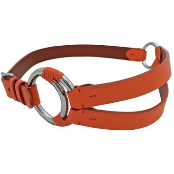Ralph Lauren Bright Orange Leather Belt + Silver Ring Accents / Sz S