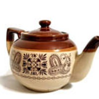 Stoneware Teapot Beige Brown Paisley Floral Tulips Tea Pot