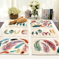 SunnyRain 4/6-Pieces Linen Cotton Feature Table Cloth Placemat Sets Table Decoration Table Runners 42x32cm