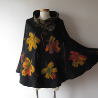Women Poncho Black wool Cape, Felted poncho, Natural  wool Fall maple leaf autumn outerwear oversized poncho,   plus sizes, poncho for women