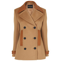 Buy Jaeger Leather Trim Pea Coat, Camel online at John Lewis