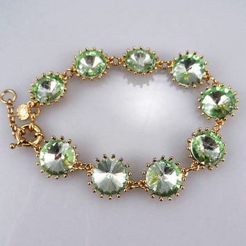 J Crew Style Inspired Vintage Clear green Crystal Bracelet Wedding Party Bridal Statement gold Bracelet girls bracelet/ Fashion Trends