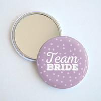 Bachelorette Party Favors - Team Bride Polka Dots Pocket Mirror