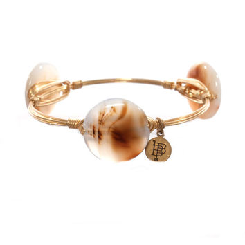 Bourbon & Boweties Milky Brown Swirl Round Bangle