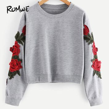Rose Embroidered Applique Sweatshirt Autumn Grey Women O Neck Pullovers Long Sleeve Casual Vintage Ladies Sweatshirt