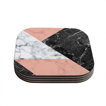 "KESS Original ""Geo Marble and Coral"" Black Art Deco Coasters (Set of 4)"