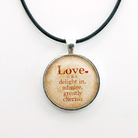 Definition of Love Necklace FREE SHIPPING, I love you gift. Handmade Necklace. Sepia brown resin pendant with red heart.