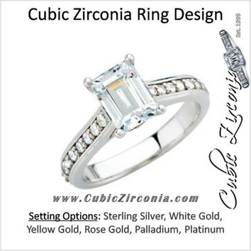 Cubic Zirconia Engagement Ring- The Kimberly (1 Carat Emerald-Cut Cathedral Style with Round Band Accents and Square Kite-set Peekaboo)