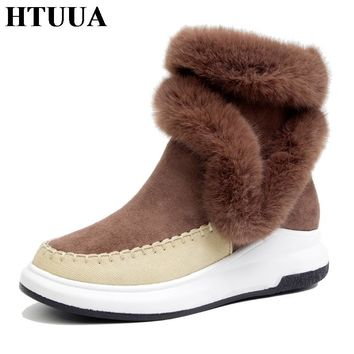 HTUUA New Fashion Women Winter Boots Rabbit Fur Plush Warm Snow Boots High Quality Zip Ankle Boots Female Winter Shoes SX694