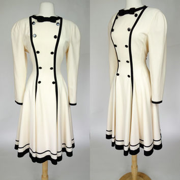 1980s Louis Feraud dress, designer couture wool tuxedo dress, creme long sleeve winter dress w black trim, medium, large