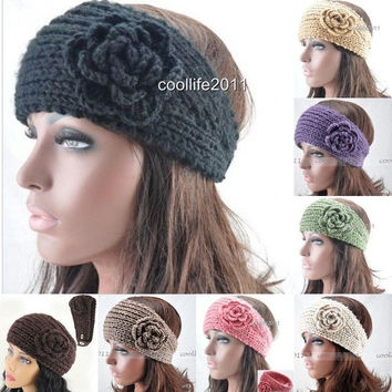 Women Crochet Headband Knit hair band Flower headwear Ear Warmer Headwrap = 1958105092